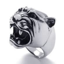 -Hpolw men Vintage popular silver&black Stainless Steel Tiger head charm Ring,Width:24mm on JD