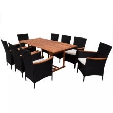 -Outdoor Dining Set 17 Pieces Poly Rattan Black on JD