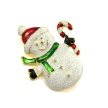 8750202-Vanker Xmas Christmas Gift Santa Claus Shirt Decor Alloy Gold-plated Brooch Pin Snowman Style on JD