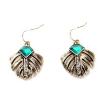 -Aiyaya Vintage Leaf Pattern Dangle Earrings Retro Green Stone Earrings Fashion Accessories  for Women on JD