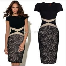 -Wholesale Womens Ladies Summer Vintage Celeb Black Contrast Lace Cocktail Party Bodycon Casual Work Dresses Size on JD