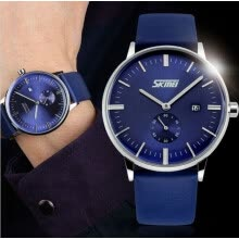 -SKMEI 9083 Men Fashion Casual Quartz Watch Classic Genuine Leather Strap on JD