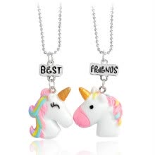 -Children's jewelry resin color stereo good friend BFF unicorn necklace on JD