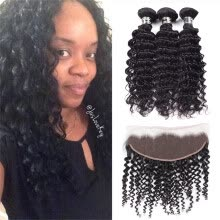 -8A Malaysian Virgin Hair Bundles With Frontal Deep Wave With Closure Frontal Top Quality 13x4 Lace Frontal with Bleached Knots on JD