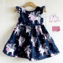 -UK Toddler Kid Baby Girls Cartoon Unicorn Print Party Pageant Tutu Dress Clothes on JD