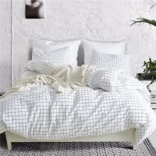 -Nordic Lattice Bedding Set Bed Linen Simple Fashion Stripe White Bed Sheet Duvet Cover Sets 3Pcs Home Textile US UK Size on JD
