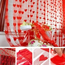8750202-1PC Romantic Heart Shape Line curtain living room sheer curtain small heart curtain tulle screening soft line curtain decoration on JD