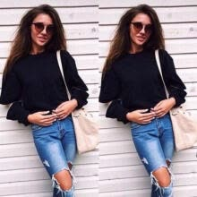 -US Stock Women Long Sleeve Jumper Cardigan Coat Casual Lady Sweater Tops Blouse on JD