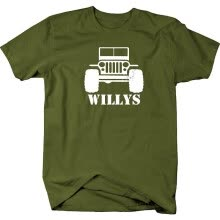 -Willys Jeep Military CJ TJ JK Flat Fenders Split Grill Mens T Shirt on JD