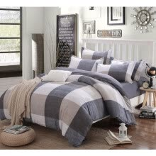 8750203-Cotton Striped Lattice Bedding Set Full Queen Super King Size Duvet Cover Bed Sheet Pillowcase Soft Kids 4pc Bedclothes on JD