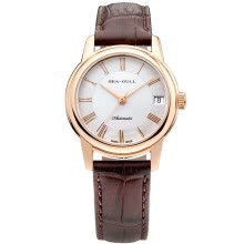 women-watches-SEAGULL Men's Analogue Quartz Watch with Leather Strap on JD