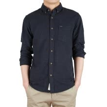 875061442-BIIFREE Men's Clothing Navy Men's Shirts Casual Button-Down Long Sleeve Shirts 100% COTTON  on JD