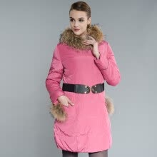 -Snow flying (SNOW FIYING) ladies down jacket in the long section Slim thin coat collar X1301152 121153 (pink rose) 155 / XS on JD