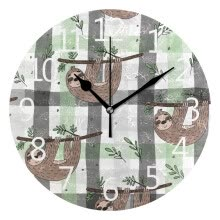 -Wall Clock Cute Doodle Sloth Print Round Wall Clock Arabic Numerals Design on JD