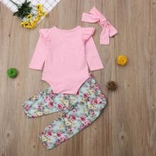traditional-tops-UK Newborn Infant Baby Girls Cotton Tops Romper Floral Pants Outfits Set Clothes on JD