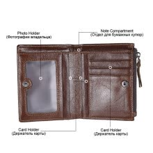 -Purse men's vintage topcoat leather wallet double zipper zero pouch calfskin upright style silver bag on JD