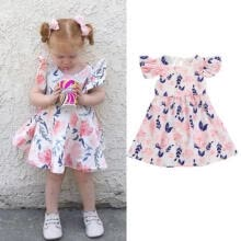 wedding-parties-Newborn Toddler Baby Girl Ruffle Sleeve Floral Tulle Party Pageant Dress Clothes on JD