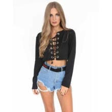 cardigans-Fashion Women V Neck Crop Top Long Sleeve Shirt Blouse Sweater T-shirt on JD
