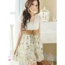casual-Womens Chiffon and Lace Cute Floral Dress on JD