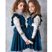 b2e844d77 Baby Girl Princess Ruffles Sleeve Party Dress Sweet Velvet Dress Clothes
