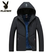 -Playboy PLAYBOY cotton clothing men 2018 winter new thickening slim coat Korean version of the wild casual men's clothing coat RSC9805 black 3XL on JD