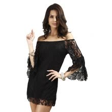 -Buenos Ninos Sexy Horizontal Neck Lace Dress Lotus Leaf Sleeve Short Skirts on JD