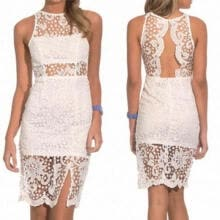 -New Women Sexy Black White Sleeveless Lace Dress Backless Evening Party Dress on JD