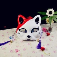 masks-Half Face Hand-Painted Japanese Fox Mask Kitsune Cosplay Props Masquerade Mask on JD