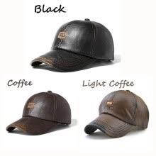 Vintage PU Leather Baseball Cap Men's Winter Outdoor Sports Hats Adjustable