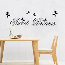 -DIY Sweet Dreams Butterfly Mural Wall Quote Decals Sticker Vinyl Room Decor UKLX on JD