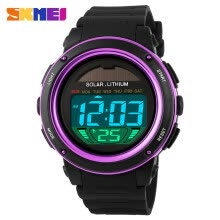 -SKMEI Brand Solar Powered Digital Men Women Sports Military Watch 3ATM Water-resistant Unisex Wristwatch with Chronograph Backligh on JD