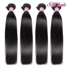 -7A Indian Virgin Hair Straight Human Hair Extensions Raw Indian Hair Weave Bundles 4pcs Unprocessed Indian Straight Virgin Hair on JD
