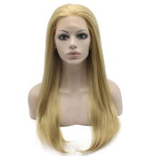 -Iwona Synthetic Hair Lace Front Long Stright Ash Blonde Wig Natural on JD