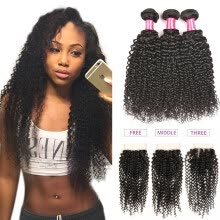 -Bling Hair Brazilian Virgin Hair Kinky Curly  3 Bundles with Closure Free/Middle/Three 7A Grade 100% Unprocessed Human Hair Weave on JD