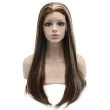 -Iwona Synthetic Hair Lace Front Long Stright Brown Hightlight Wig on JD