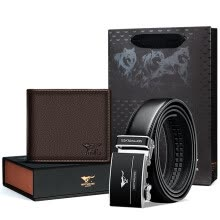 -SEPTWOLVES men buckle belt and cowhide short wallet on JD