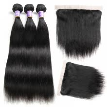 -Lace Frontal Closure With Bundles Straight Virgin Hair Bundle Deals With Frontal 3 Bundles Human Hair Weave With Frontal Closure on JD