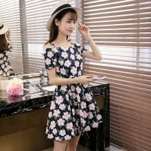 -VIVAHEART Casual Fashion Floral Straps Straps Straps Short Sleeve Slim Dresses VWQZ173333 Navy C on JD