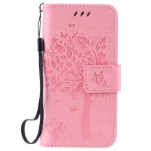 -Pink Tree Design PU Leather Flip Cover Wallet Card Holder Case for IPHONE 5 on JD