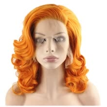 -Iwona Synthetic Hair Lace Front Shoulder Wavy Orange Wig on JD