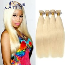 pre-colored-hair-weaves-Brazilian  Hair Straight 4Pcs Lot  Blonde Brazilian Hair Weave Bundles Color #613 Brazilian Straight Hair Platinum Blonde Virgin H on JD