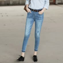-And the pure (Rain.cun) jeans female corners jeans trousers pants pants Korean version of the elastic self-cultivation pencil pants N2152 blue 33 yards on JD