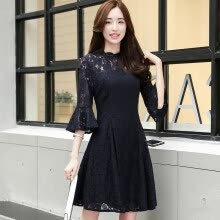 -A morning morning 2017 summer dress female big yards waist Slim was thin hollow sleeved sleeves round necklace printing package skirt skirt in the long skirt S71R0165A181S navy blue S on JD