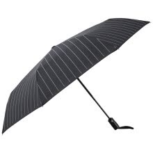 87502-American style MAYDU gentleman stripes men business umbrella safe positioning automatic three fold sunny umbrella M3316 black on JD