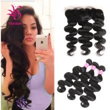 -Lace Frontal Closure With Bundles Body Wave Raw Brazilian Virgin Hair Weave Bundles With Lace Frontal Brazilian Body Wave on JD