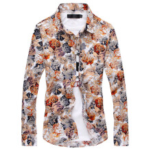 875064188-Men's shirts with long sleeves in Korean fashion casual shirt printing floral stylist clothes tide inch slim on JD