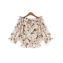 875061821-Loose Floral Blouses Short Sleeve Chiffon Shirts on JD