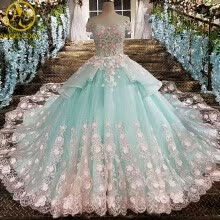 -Lace Flower Bride Wedding Gown Pregnant Trailing Princess Vintage Luxury Wedding Dress Cloud Weeding Dress Robe De Mariage 2017 on JD