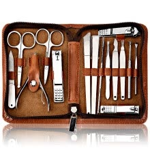 -For the nail clipper set gift brown leather zipper 15 nail scissors nail clippers nail file paronychia special pedicure knife nail fungus tool set on JD
