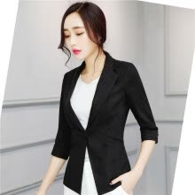 suiting-blazers-Women Linen Half Sleeve Blaser 2017 New Elegant Casual Candy Color Single Button Plus Size Work Blazer Office Jacket Pink/White on JD